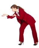La femme d'affaires crée d'isolement sur le blanc Images stock