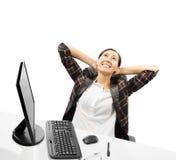 La femme d'affaires détend Photo stock