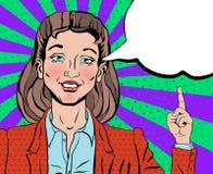 La femme d'affaires dans la veste rouge sourit et soulève son aileron d'index Images libres de droits