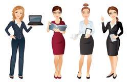 La femme d'affaires dans le bureau élégant vêtx dans différentes poses Équipe de bureau Images libres de droits