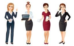 La femme d'affaires dans le bureau élégant vêtx dans différentes poses Équipe de bureau Photo stock