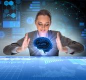 La femme d'affaires dans le concept d'intelligence artificielle photos stock