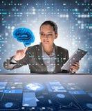 La femme d'affaires dans le concept d'intelligence artificielle images stock