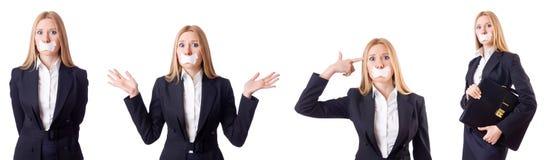 La femme d'affaires dans le concept de censure d'isolement sur le blanc Photo stock
