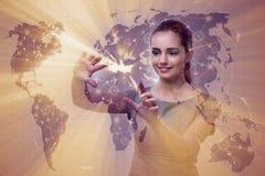 La femme d'affaires dans le concept de transport du monde Photos stock