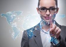 La femme d'affaires dans le concept de transport du monde Image libre de droits