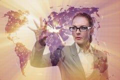 La femme d'affaires dans le concept de transport du monde Images stock