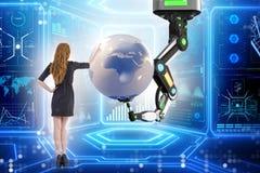 La femme d'affaires dans le concept futuriste d'affaires globales Photo stock
