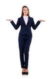 La femme d'affaires dans le costume bleu d'isolement sur le blanc Photo libre de droits