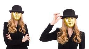La femme d'affaires dans le masque d'isolement sur le blanc Photos libres de droits