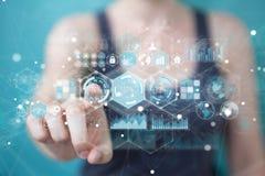La femme d'affaires employant des données d'hologrammes sur les écrans numériques 3D rendent Photos stock