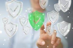 La femme d'affaires employant des données modernes protègent le rendu de l'antivirus 3D Photo stock