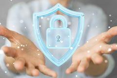 La femme d'affaires employant des données modernes protègent le rendu de l'antivirus 3D Image libre de droits