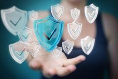 La femme d'affaires employant des données modernes protègent le rendu de l'antivirus 3D Photos stock