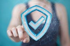 La femme d'affaires employant des données modernes protègent le rendu de l'antivirus 3D Photographie stock libre de droits