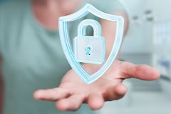 La femme d'affaires employant des données modernes protègent le rendu de l'antivirus 3D Image stock