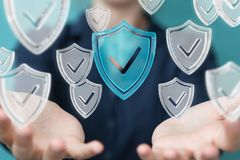 La femme d'affaires employant des données modernes protègent le rendu de l'antivirus 3D Photo libre de droits