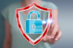 La femme d'affaires employant des données modernes protègent le rendu de l'antivirus 3D Images libres de droits