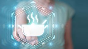 La femme d'affaires employant l'application pour passer commande à la maison a fait en ligne la nourriture 3 illustration libre de droits