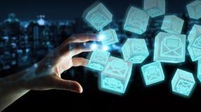 La femme d'affaires employant le cube de flottement envoie le rendu 3D Photos libres de droits