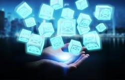 La femme d'affaires employant le cube de flottement envoie le rendu 3D Photo libre de droits