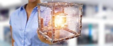La femme d'affaires employant le cube futuriste a donné au rendu une consistance rugueuse de l'objet 3D Photo stock