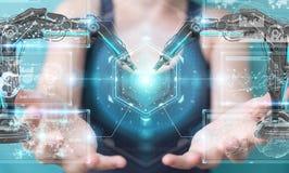 La femme d'affaires employant la robotique arme avec le renderi numérique de l'écran 3D Image libre de droits