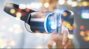 La femme d'affaires employant la technologie 3D en verre de réalité virtuelle rendent Photo stock