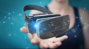 La femme d'affaires employant la technologie 3D en verre de réalité virtuelle rendent Photos stock