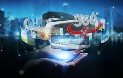 La femme d'affaires employant la technologie 3D en verre de réalité virtuelle rendent Image stock