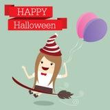 La femme d'affaires est princesse de la veille heureuse de partie de jour de Halloween de sorcière Image libre de droits