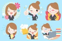 La femme d'affaires font l'émotion différente illustration stock