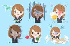 La femme d'affaires font l'émotion différente illustration de vecteur
