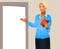 La femme d'affaires invite entrent Photographie stock