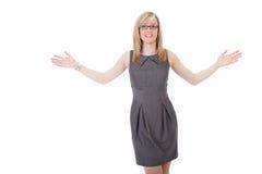 La femme d'affaires juge ses bras grands ouverts Photographie stock libre de droits