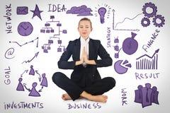 La femme d'affaires méditant avec de divers concepts d'affaires image stock