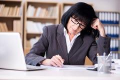 La femme d'affaires mûre travaillant dans le bureau Photographie stock libre de droits
