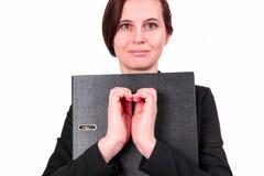 La femme d'affaires montre le geste et le x22 ; heart& x22 ; Image stock