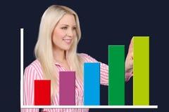La femme d'affaires montre une courbe graphique Photographie stock