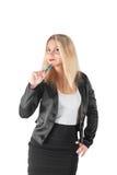 La femme d'affaires pense tenant le stylo bleu image libre de droits