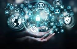 La femme d'affaires protégeant son information personnelle 3D de données rendent Image stock