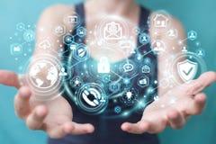 La femme d'affaires protégeant son information personnelle 3D de données rendent Images libres de droits