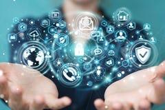 La femme d'affaires protégeant son information personnelle 3D de données rendent Photographie stock