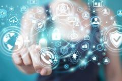 La femme d'affaires protégeant son information personnelle 3D de données rendent Photos libres de droits