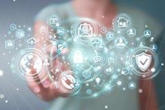La femme d'affaires protégeant son information personnelle 3D de données rendent Photos stock