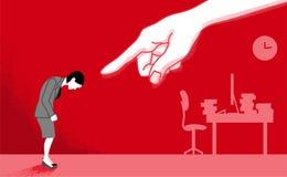 La femme d'affaires qui est dirigée par la main énorme - actionnez le harcèlement illustration libre de droits