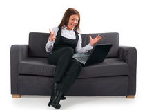 La femme d'affaires travaille très avec émotion à la Co Photographie stock