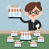 La femme d'affaires veulent augmenter ses affaires, concept de concession Photographie stock libre de droits