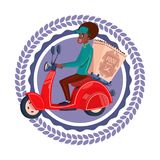 La femme d'Afro-américain d'isolement par icône rapide de service de distribution livrent l'épicerie sur le rétro logo de calibre illustration libre de droits