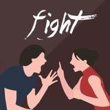 La femme d'homme de combat de couples criant discutent des cris entre eux conflit dans le divorce de relations de mariage Images stock